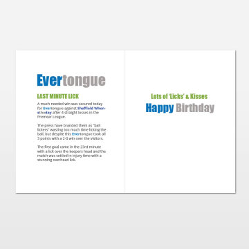 Evertongue printed birthday card (inside)