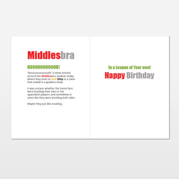 Middlesbra printed birthday card (inside)