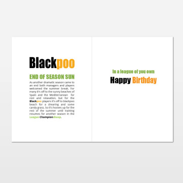 Blackpoo printed birthday card (inside)
